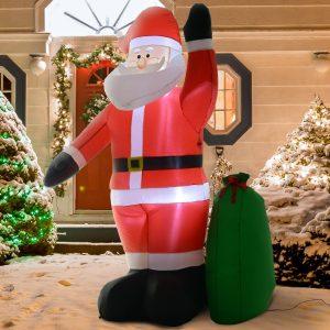 Papai Noel Insuflável Decoração de Natal Com LED Soprador de Luz 150 × 60 × 240cm