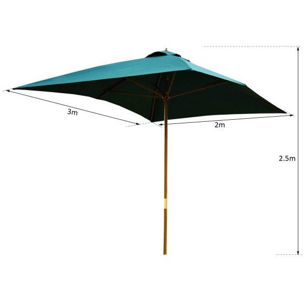 Parasol 2x3m Altura 2.5m Jardim Terraço Poliéster Verde e Madeira