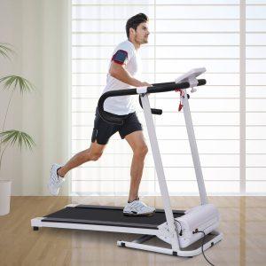 Passadeira Dobrável e Elétrica de 500W para Fitness 1-10Km/h com Visor LCD e Carga Máx. 110kg