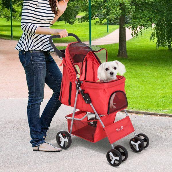 PawHut Carrinho dobrável para animais de estimação 84x48x95cm Rodas para carrinho de gato para cão Girar 360º com freio