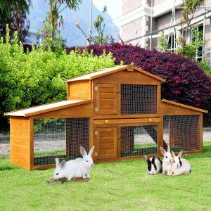PawHut Casa do coelho com rampa e zona aberta 215x63x100 cm Madeira