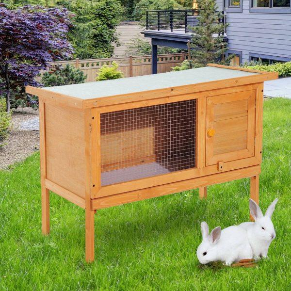 PawHut Casa para Coelhos Pequenos Animais para Exterior casa grande com pernas elevadas de cor madeira 90x45x65cm
