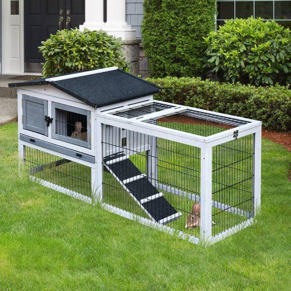 PawHut Casa para coelhos de madeira Casa exterior para coelhos Telhado dobrável e Tecido de Asfalto 150x52.5x68 cm Cinza
