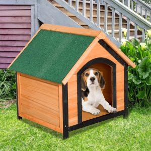 PawHut Caseta de madeira maciça para cão impermeável com pernas elevadas para interior e exterior -72x76x76cm