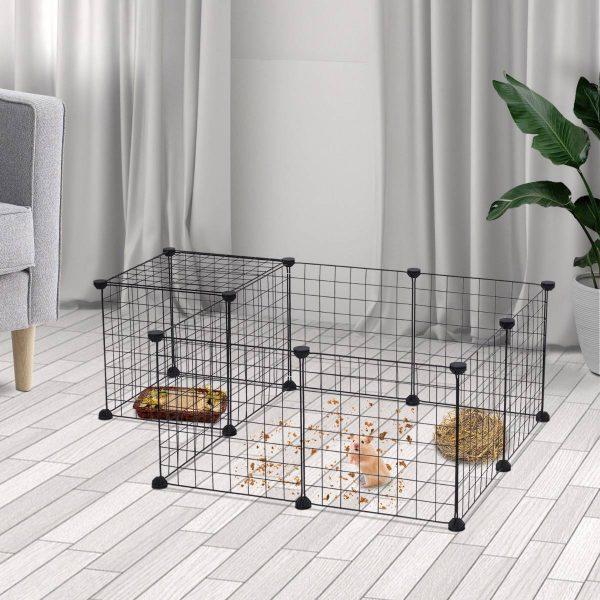 PawHut Cerca de metal para animais de estimação com 12 painéis Parque Metálico para Pequenos Animais Desmonvel Design DIY preto 106x73x36cm