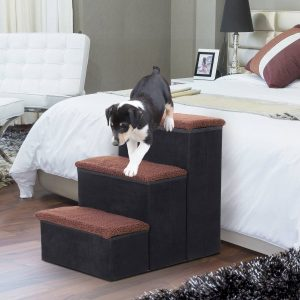 PawHut Escada para cães e gatos 3 etapas dobráveis com armazenamento destacável de 50 cm de altura