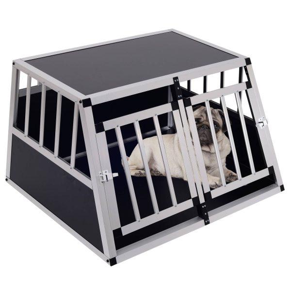 PawHut Gaiola de Alumínio para Cães Transportadora Alumínio para Cão para Viagem