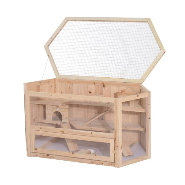 PawHut Gaiola de madeira de hamster Roedores Casa para Pequenos Animais 3 Níveis 115x60x58cm