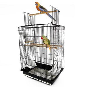 PawHut Gaiola de pássaro espaçosa Gaiola de pássaro com teto aberto com 4 suportes 2 alimentadores para interior ou exterior 41.5x29.5x56.5cm