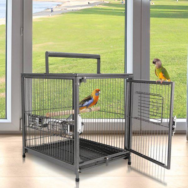 PawHut Gaiola de pássaro metálica espaçosa para papagaios interiores ou exteriores com 4 portas 2 alimentadores de aço inoxidável removíveis Fácil de transportar 46x36x56cm