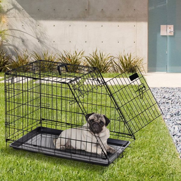 PawHut Gaiola dobrável de metal para cães Forma trapezoidal transportadora 76x48x55cm 10kg Preto