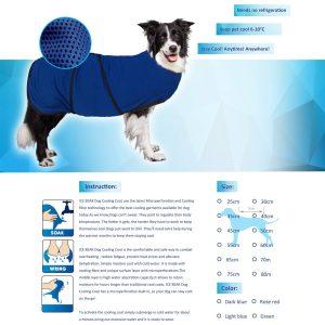 PawHut Jaqueta Colete de Arrefecimento Colete Roupas de Verão para Animais de Estimação Cão Refrescante Jaqueta de Volta 40 cm Poliéster
