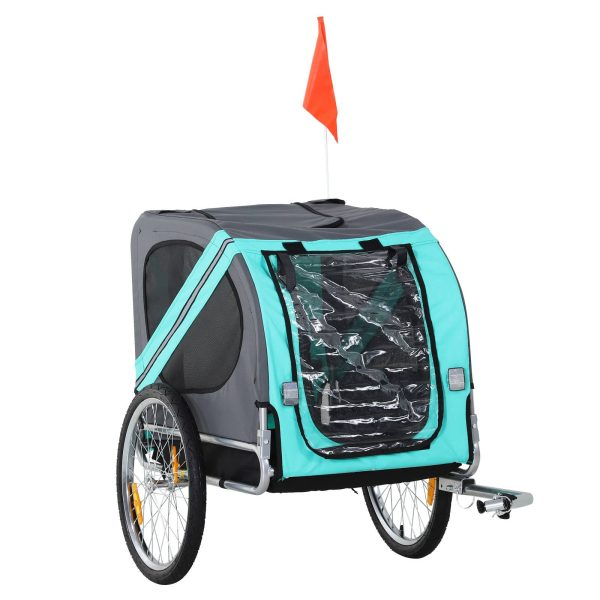 PawHut Trailer bicicleta cães pet com anel bandeira refletor de segurança reboque bicicleta táxi 78x55x65cm