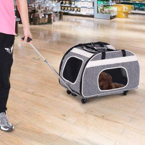 PawHut Transportin Carrinho Cão 2 em 1 mochila Carrinho Animais de estimação dobráveis 65x37x46cm Cachorro Gato
