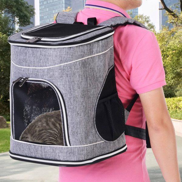 PawHut Transportin Mochila dobrável 35x30x45cm Animais de estimação Cachorro Gato