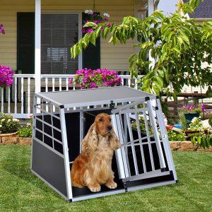 Pawhut Jaula de Transporte Hermética Para cães - Alumínio e madeira Compensada- 104x91x69cm