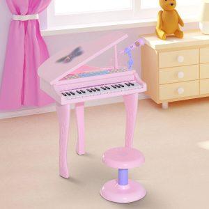 Piano infantil 37 Teclas com Microfone Banquinho Luzes e 22 Canções USB/MP3