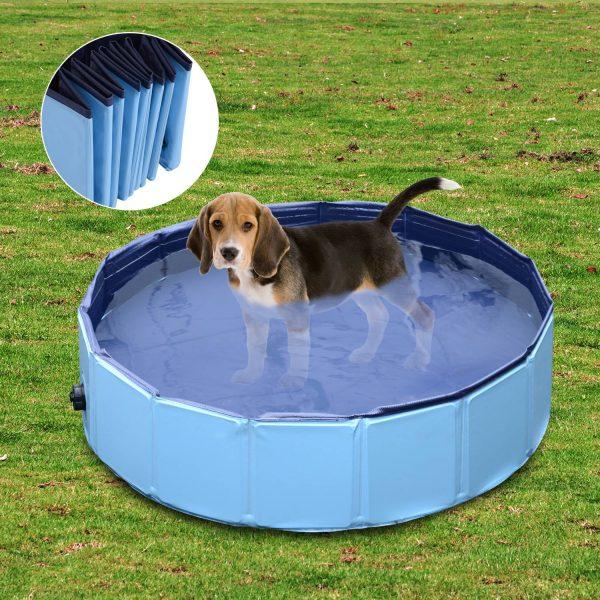 Piscina Animais de Estimação Cachorros Gato Cachorro Dobradiça Diâmetro Φ80x 20 cm NOVO