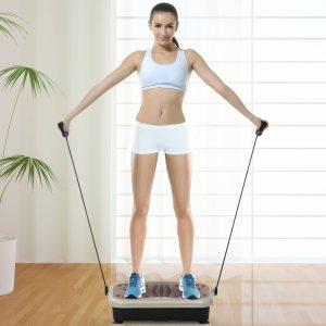 Plataforma de Vibração com 2 Bandas Elásticas para Treinamento de Fitness 200 W com Controle Remoto e Carga 120 kg