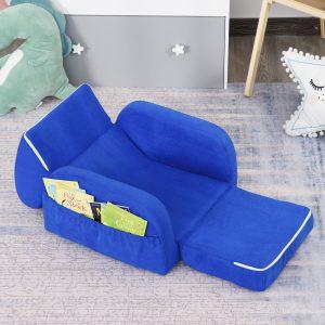 Poltrona 2 em 1 dobrável com assento acolchoado para crianças acima de 12 meses Azul