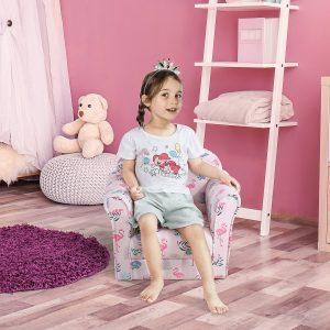 Poltrona Infantil para Crianças Acima de 3 Anos Assento acolchoado ergonômico rosa