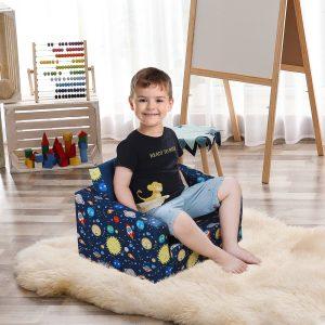 Poltrona Infantil para Crianças Acima de 3 Anos Assento extensível Acolchoado azul