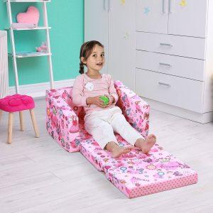Poltrona Infantil para Crianças Acima de 3 Anos Assento extensível acolchoado rosa