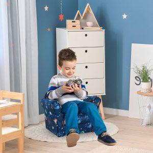 Poltrona infantil para crianças acima de 3 anos Banco acolchoado ergonômico azul