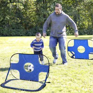 Pop-up de gol de futebol dobrável com bolsa de transporte 123x80x80 cm azul
