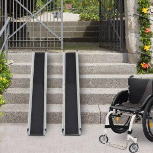 Portátil Rampa de acesso Universal para Cadeiras de Rodas em Alumínio antiderrapante Rampa com Calha 74-122cm