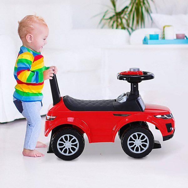 Quad andarinhos Carro Infantil sem Pedais para Bebê Estilo de Carreira de Andador de Brinquedo com Alto-falante 60x38x42cm