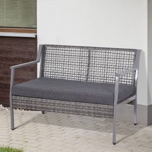 Rattan Sofá Dois Assentos com Almofada Removível cor Cinza 118x75x79 cm