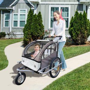 Reboque de Bicicleta para crianças 2 assentos com amortecedor e barra + carrinho de pé