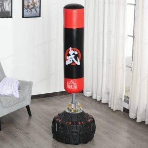 Saco de boxe em pé com molas de base completa areia / água Φ60x180 cm
