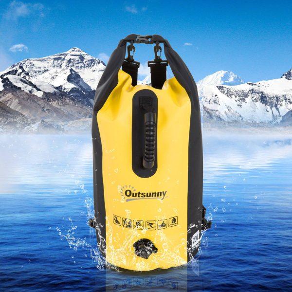 Saco impermeável do PVC 20L Saco seco impermeável Mochila com alça ajustável para esporte ao ar livre Φ25x61cm amarelo com alça e capa para smartphone Φ25x61Al
