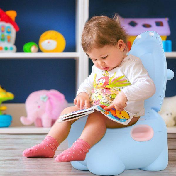Sanita infantil para bebês Mictório removível em forma de hipopótamo com alças 40x30x23cm Carga 25kg Azul