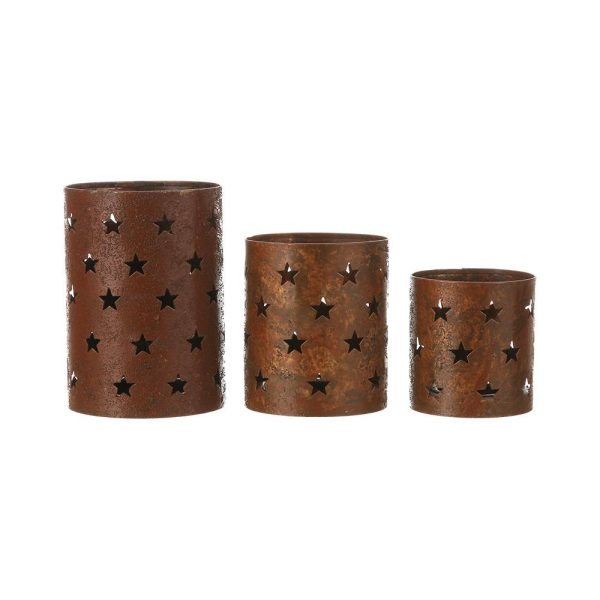 Set 3 Porta-Velas Metalico Com Estrelas