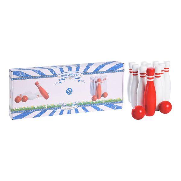 Set De 10 Bowling Com Duas Bolas. Incluí: 10 Bolos (9 Brancos Com Listras Vermelhas E 1 Vermelha Com Duas Listras Brancas) E Duas Bolas Vermelhas De 6Cm De Diâmetro Cada Uma