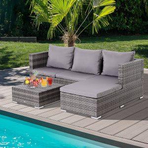 Sofá com Chaise longue e mesa de café de rattán cor cinza 130x64x62cm