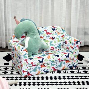 Sofá infantil com desenhos de dinossauro acolchoado +3 anos