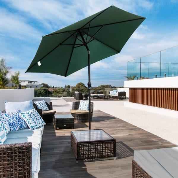 Sombrinha Guarda-sol Reclinável com Manivela de Alumínio com Tela de Poliéster para Jardím Pátio Terraço-Φ2.7x2.35m