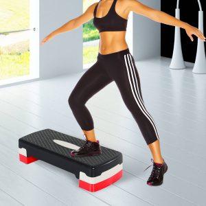 Step Fitness Plástico Preto Cinzento Vermelho 68 x 29 cm