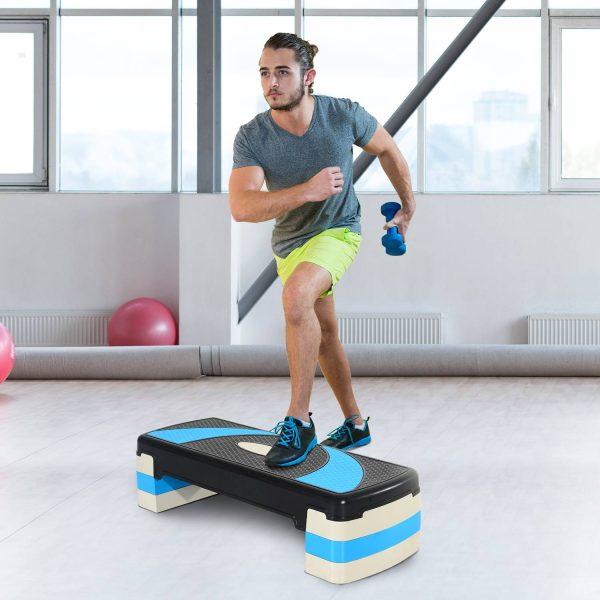 Step de Aeróbica e Fitness tipo Tábua Plataforma Stepper para Desporto e Ginásio com Altura Regulável a 3 Níveis Peso 150kg
