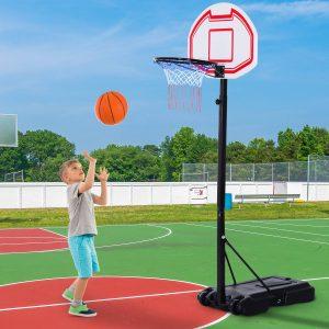 Tabela de basquetebol com suporte de rodas rede ajustável com e painel