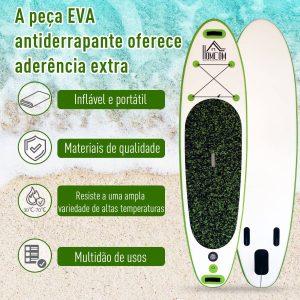 Tabla de paddle surf inflávelcom remo e acessórios carrega 100 kg 302x76x10cm