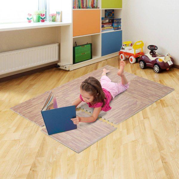 Tapete Puzzle para Crianças ou Ginásio– Cor: castanho – Espuma de Borracha EVA – 9 metros quadrados