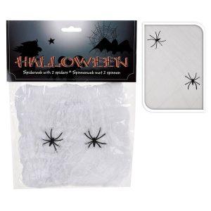 Teia De Aranha Halloween Com 2 Aranhas 50X40Cm
