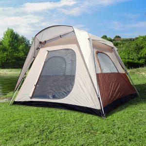 Tenda de Acampamento Familiar 4-8 Pessoas Tipo Refúgio para Praia Picnic e Campismo Pop-Up Instantânea e Portátil com Saco de Transporte Mosquiteira Proteção Solar UV 2.6x2.6x2.1m
