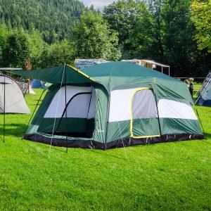 Tenda de Acampamento Familiar 8-10 Pessoas Portátil e Impermeável com Saco de Transporte 4.3x3x2m