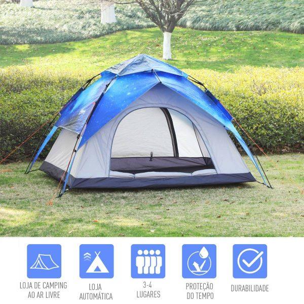 Tenda de Campanha 2 em 1 fácil de montar azul e cinza 200x230x140cm